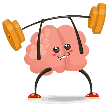 Animated brain lifting weights