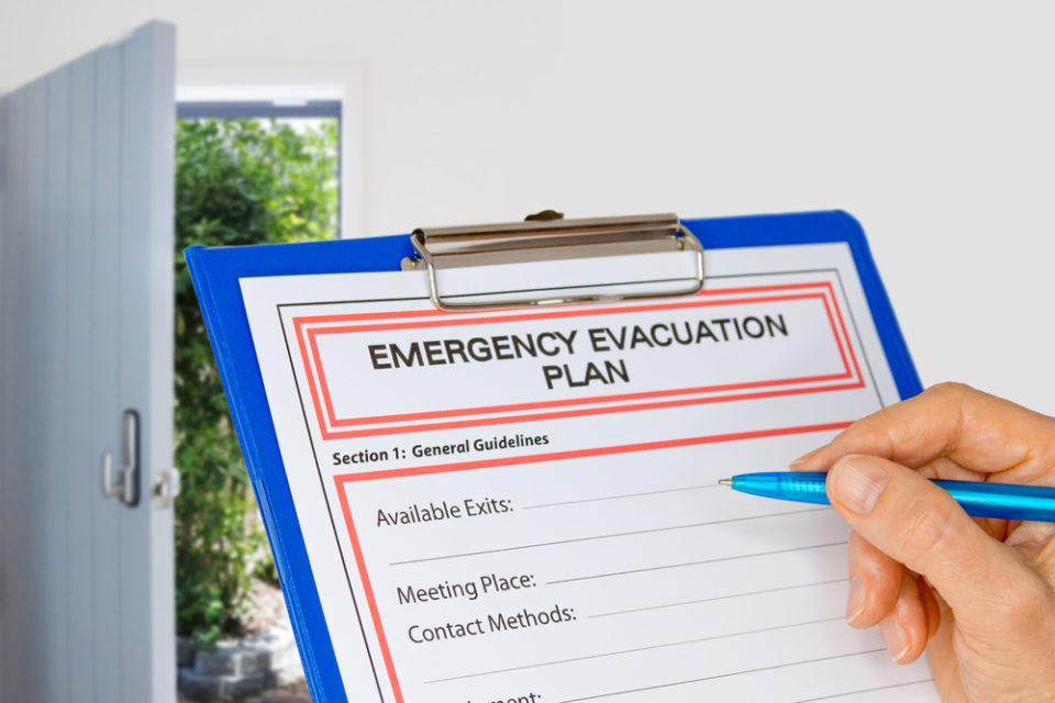 Have an evacuation plan in case of emergency, fire, storm, flood or other disaster. Silver Creek Retirement.