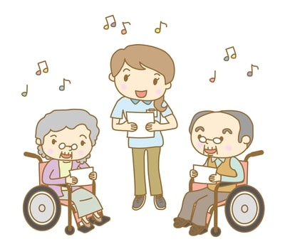 Socializing with others in song. Music therapy.